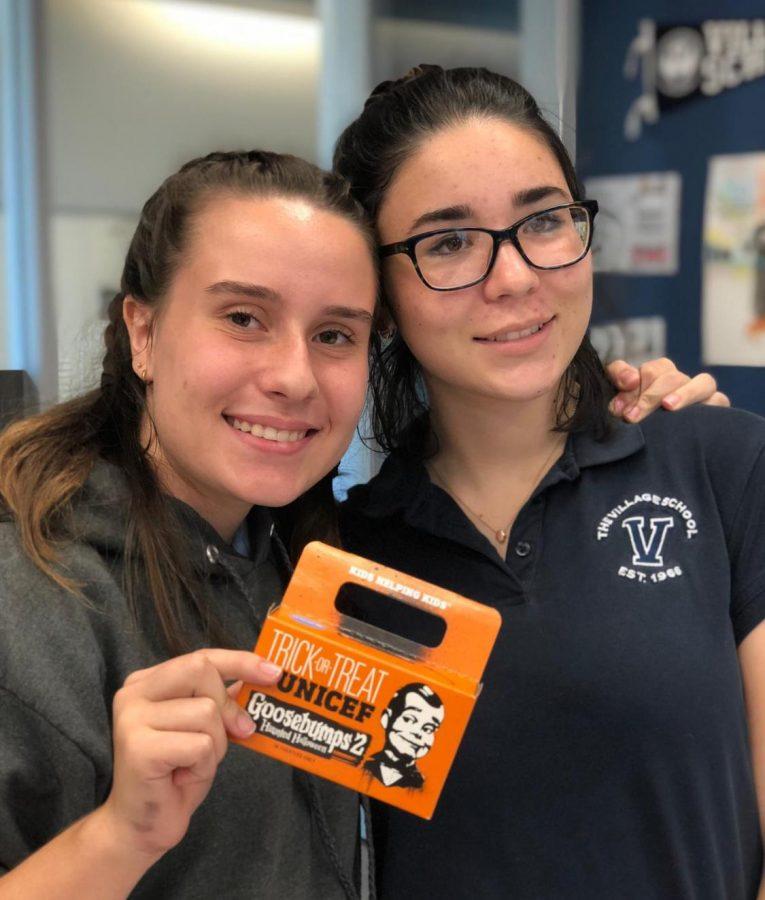 UNICEF members Elena Ribeiro and Valeria Ramirez showcase one of the