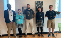 [From left to right] Ryan Kunu (11), Meera Moujaes (11), Wesley Adams (S), Catherine Zhang (10), and Ayrton Miller (12) pose for a picture before the Viking Improv Club tryouts.