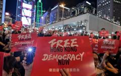 """A protestor in Hong Kong holding up a """"Free Hong Kong, Democracy Now"""" sign"""