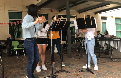 [From left to right Xing Chng (11), Minh Nguyen (9), Nuha Farooqui (11), and Zoe Ponthier (9)] performing at the Viking Carnival.