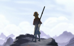 "Iconic pose of Aang, the long-lost Avatar, in a scene during ""Avatar: The Last Airbender"""
