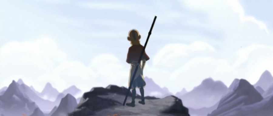 """Iconic pose of Aang, the long-lost Avatar, in a scene during """"Avatar: The Last Airbender"""""""