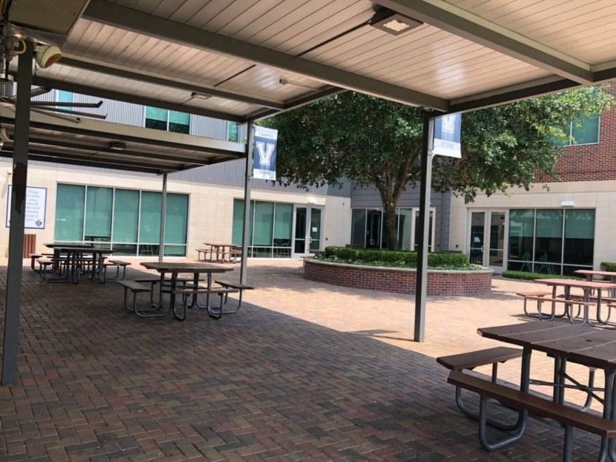 At The Village School, the patio is empty as there are no students except for some residential life students who stayed at school.