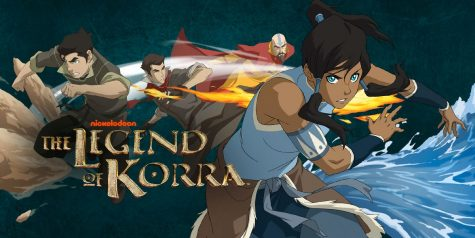 This is a show poster of Legends of Korra with Avatar Korra and her companions, Mako and Bolin, along with her airbending mentor, Tenzin.
