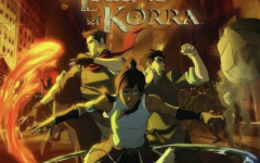 Avatar Korra posing with her friends, Mako and Bolin