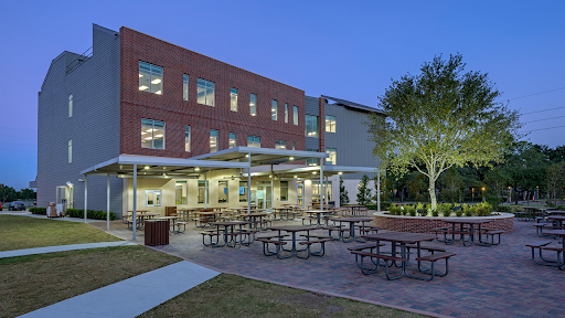 A photo of The Village High School patio where on-campus learners eat lunch.