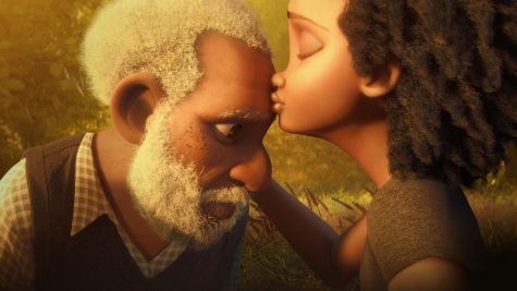 A touching film poster of Canvas picturing the main character and his visiting daughter.