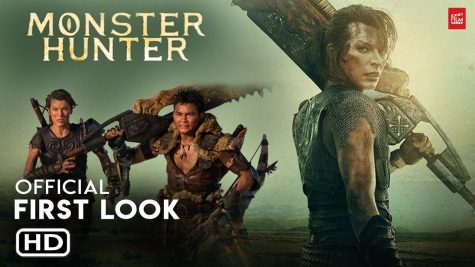 This is a 'First Look' poster of the movie with  Lt. Artemis holding a Greatsword made out of bones and next to her are her fellow hunters.