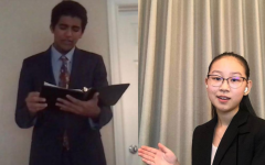 Speech and Debate competitors Anjai Gupta (10) and Caroline Hsu (10) performing their respective pieces in an online format.