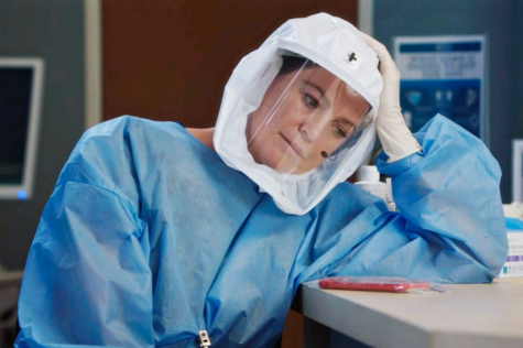 An image of actress Ellen Pompeo playing Meredith Grey in the long-awaited new season of hit medical drama Grey's Anatomy.