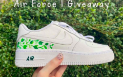 The design was chosen by the winner of the Air Force 1 giveaway fundraiser, Ana Blanco. The shoes were painted by the co-president, Elena Ribeiro.