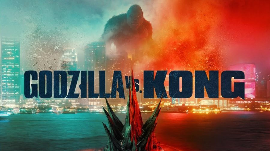 """Pictured is one of the movie posters for """"Godzilla vs Kong""""."""