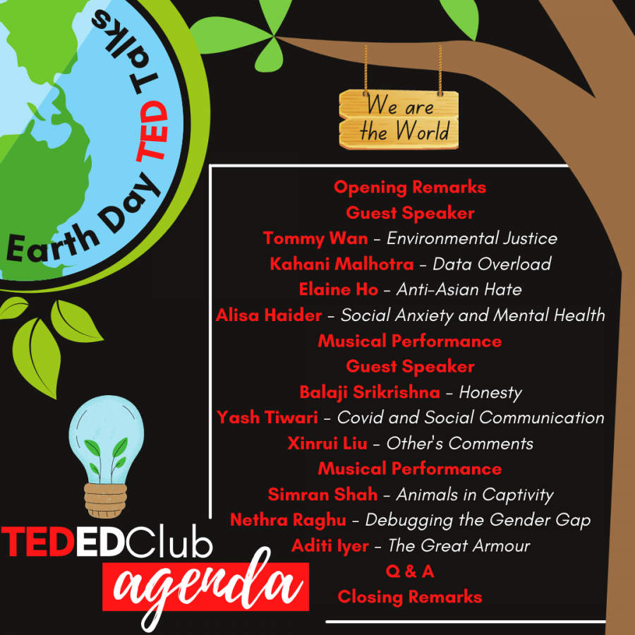 Pictured is the agenda of the 2021 Village Earth Day TED Talks.