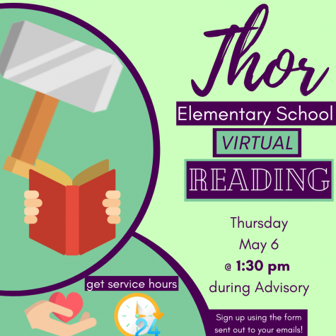 Pictured is a poster used to gauge volunteers for the elementary school reading hosted by Thor house.