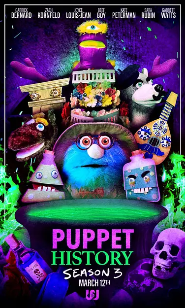 An advertisement for season 3 of Puppet History